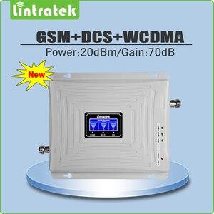 Image 2 - Lintratek תלת להקת 2G 3G 4G עבור GSM 900 + LTE 1800 + WCDMA 2100 MHz נייד אות Booster מגבר סט עם 2 מקורה אנטנה @ 5.4