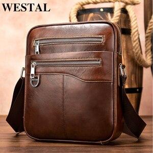 Image 1 - WESTAl mens shoulder bag genuine leather crossbody bag for men vintage messengr bag male flap zipper high quality handbags 8513