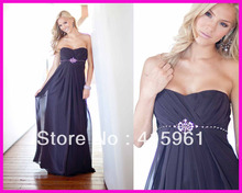 New Arrive Purple Empire Beaded Long Bridesmaid Dresses Wedding Guest Dress Chiffon B1822