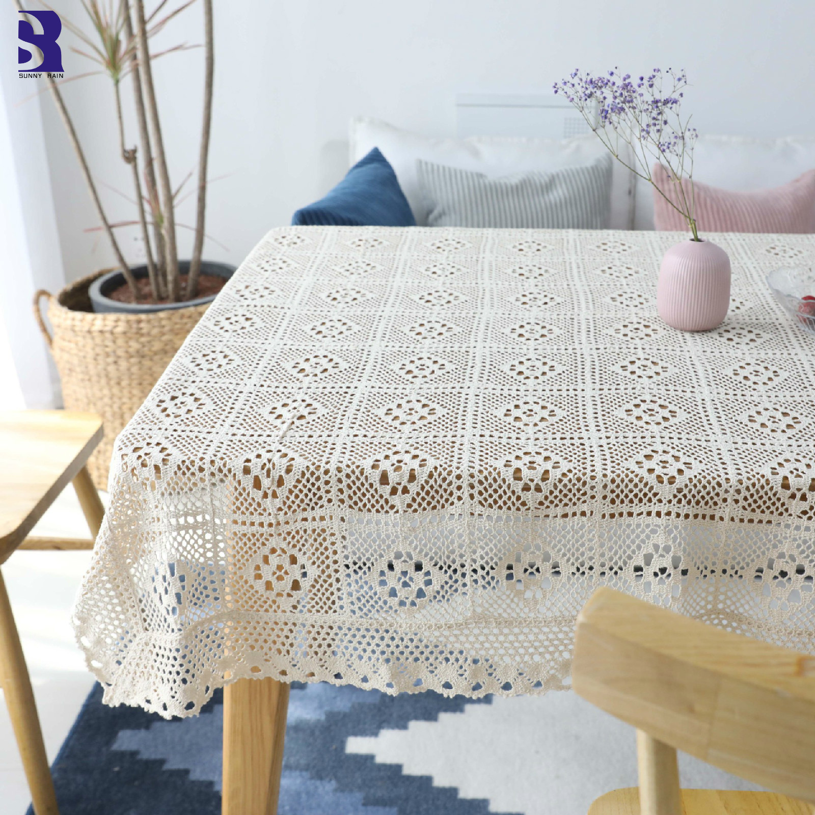 crochet christmas chair covers desk dimensions cm sunnyrain 1 piece white tablecloth table cover rectangle coffee cloths crocheted