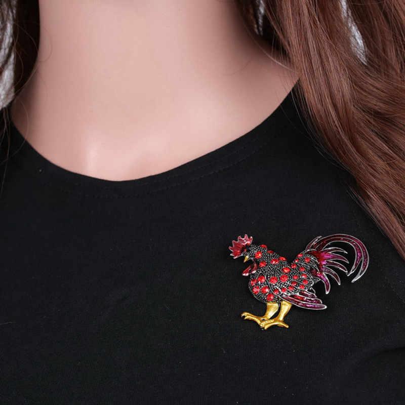 Lucky Zodiac Hewan Ayam Pin Bros Rhinestone Enamel Hewan Bros Bros Kristal Ayam Perhiasan Pin Hadiah Lucu