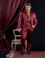 Custom Made Burgundy Mens Suits Classic Palace Wedding Suits Groom Tuxedos Baroque Style Embroidery Man Suit Jacket+Pants+Vest