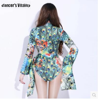 2018 Bodysuit women nightclub DJ Stage singer lead dance dress retro Peacock tail bar DS performance Sexy jazz dance costumes