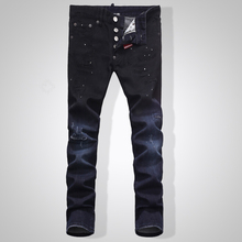 TOP Men's new Biker Oil Printed Jeans blue Classic Mens Fashion Brand High Quality Skinny Patchwork Denim for d2Jeans man