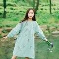 New outono de algodão mori menina doce deisgn flral bordado cor verde fresco solto vestido de manga longa no outono as mulheres se vestem