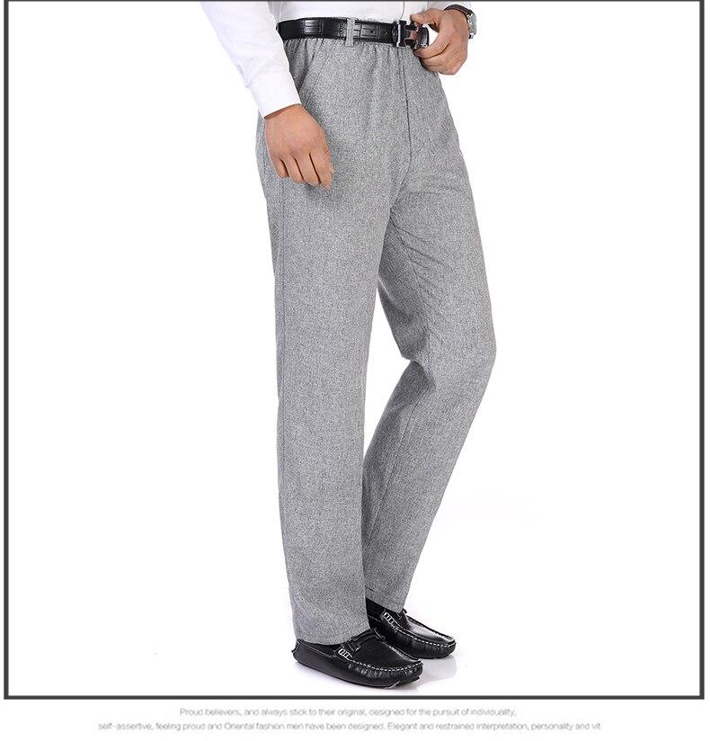 Summer Spring Man Linen Pant Dark Gray Business Casual Trouser Male Plus Size Elastic Band Waist Pantalones Homme Office Pant Plus Size (6)
