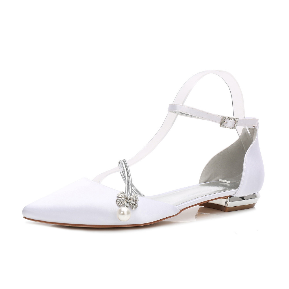 Creativesugar elegant pearl flower shape crystal charm lady satin dress flat ankle strap shoes sweet pointed toe flat sparkling creativesugar elegant pointed toe woman