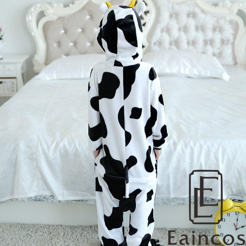 Children Kids Flannel Onesies Cute Cartoon Animal Cow Pajamas Cosplay Party Costume Gils Boys Pijamas Pyjamas Sleepwear