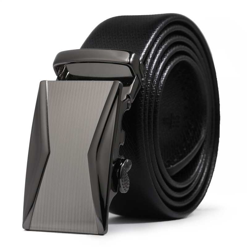 Man Business Leather   Belts   Automatic Buckle Leather Designer   Belts   For Male Practical Classic Mens   Belts