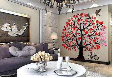 Современный Креативный 3D кованого железа золото Магнолия Ремесла Ресторан гостиная украшение стены домашний диван задний план настенные н... - 6