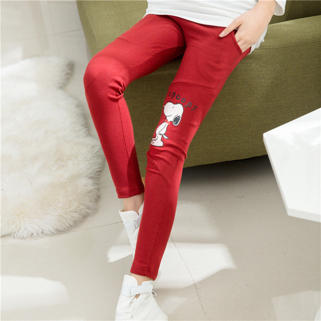 2016 new Korean fashion pregnant women leggings pants cartoon puppy printing autumn prop belly pants