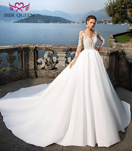 Elegant A line Satin Wedding Dress Long Sleeve Illusion Back V neck ...