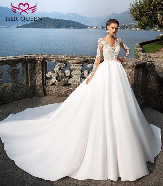 18a769df8 Elegant A line Satin Wedding Dress Long Sleeve Illusion Back V neck Plus  Size Mid East Arab Vintage Lace Wedding Gown W0280