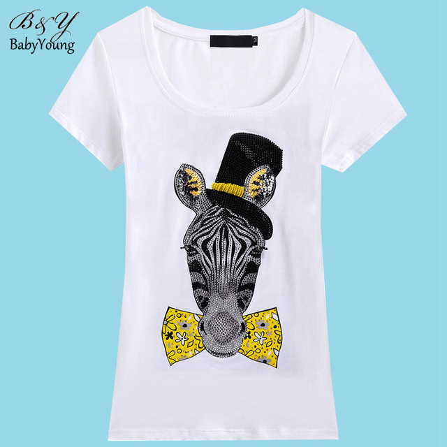 Hot Sale T Shirt Women Summer Gentleman Zebra Handmade Women Clothing Short Sleeve Fashion T-Shirts Women Camisetas Mujer
