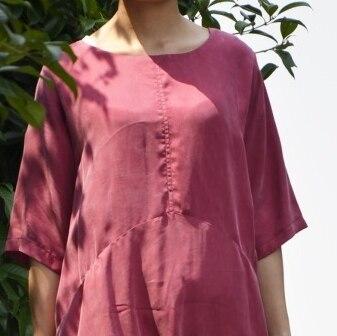 Удобные и дышащие летние блокбастер меди аммиака шелковое платье свободные большие размеры с двойной Платье с карманом 18059-1 - Цвет: Красный
