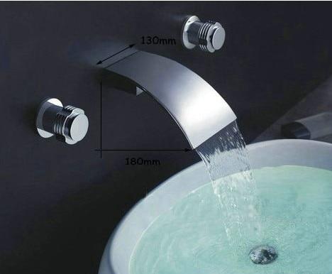 wall mounted faucet Modern Cascade chrome waterfall Bathtub spout Basin Faucet Wall mount Sink Mixer Tap grifo torneira banheiro luxury chrome wall mounted waterfall bathroom bathtub basin sink faucet mixer tap with brass spout