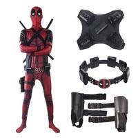 2019 Deadpool 2 Costume Adult Man Spandex Lycra Zentai Bodysuit Halloween Cosplay Suit Belt Headwear Mask Sword holster