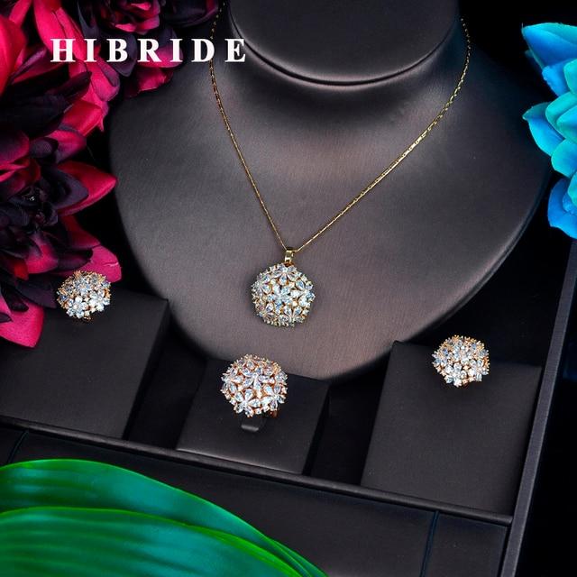 HIBRIDE أنيقة تسلق عالية الجودة زركون طقم مجوهرات للنساء لون الذهب خاتم/حلق/قلادة طقم مجوهرات هدية N 511
