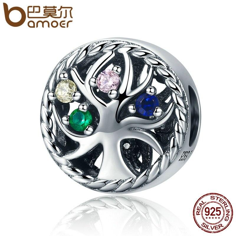 BAMOER alta calidad plata esterlina 925 colorido Árbol de la vida de la deslumbrante CZ cuentas las mujeres encanto pulseras joyería regalo SCC213