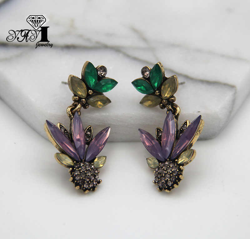 Yayi Perhiasan Multi Kaca Berlian Buatan Dangle Kristal Earring Kuno Perak Warna Gem Panjang Jumbai Anting-Anting Hadiah 1314