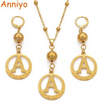 c5589753770c Aniyo A Z oro Color cuentas alfabeto collares inicial para mujeres niñas  redondo inglés letras joyería regalos  105206