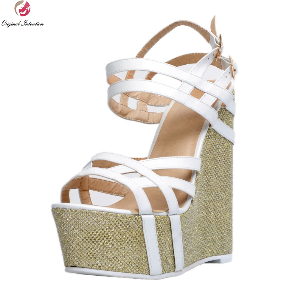 Original Intention Sexy Women Sandals Nice Platform Peep Toe Wedges Sandals Fashion White Shoes Woman Plus US Size 4-15 phyanic 2017 gladiator sandals gold silver shoes woman summer platform wedges glitters creepers casual women shoes phy3323