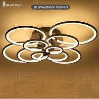 Schwarz/Weiß Kronleuchter LED Kreis Moderne Kronleuchter Lichter Für Wohnzimmer Acryl Lampara de techo innenbeleuchtung