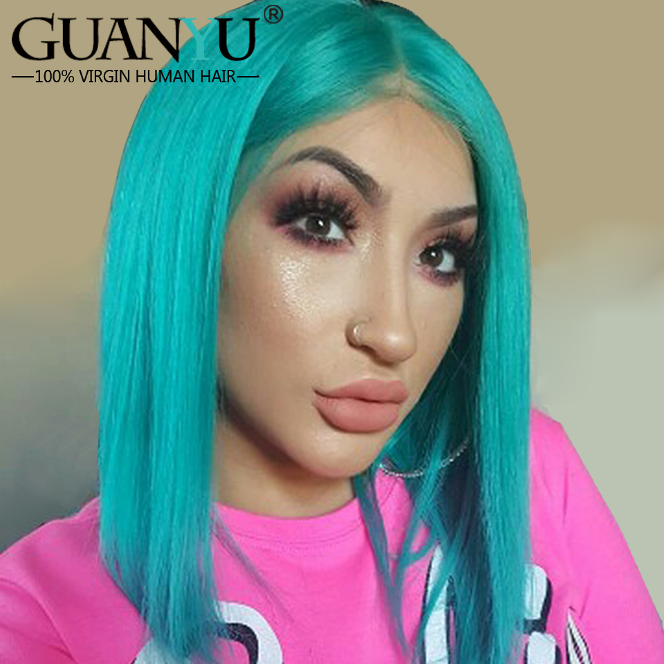 Guanyuhair Pre plucked Bob Lace Front Wigs Blue Straight Malaysia Remy Human Hair 150 Density With