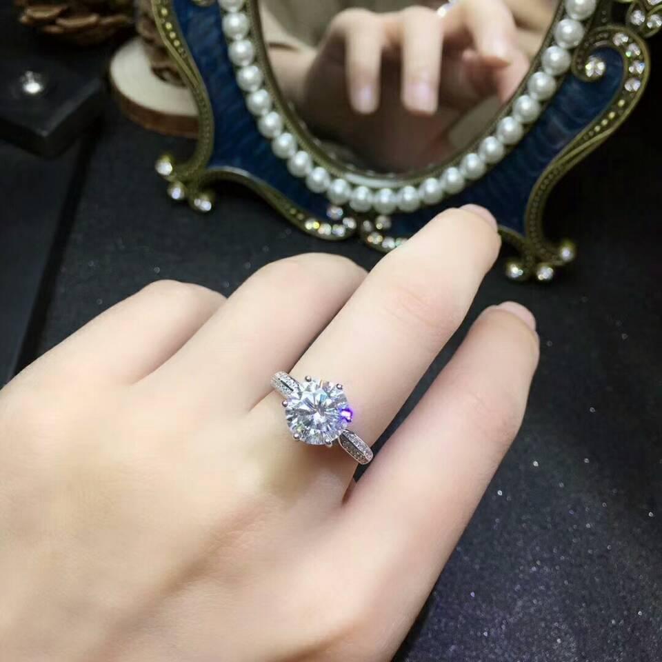 [MeiBaPJ mode Moissanite pierre gemme 3 Carats diamant bague D couleur VVS 925 argent Sterling bijoux de mariage fins pour les femmes