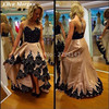 Taffeta High Low Prom Dresses 2017 Sexy Sheer Neck Black Lace Border See Through Runway African