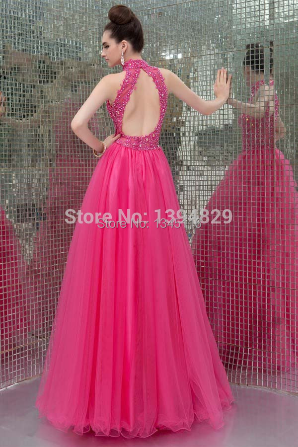 2017 Princess Backless Halter Prom Dresses Red Tulle Appliques Lace ...