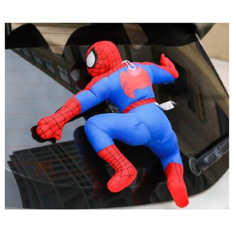 Creative Car Roof 3D Decoration For Car Spider Man Bat Man Sticker Plush Cute Striking Doll Auto Exterior Accessories super cute plush toy dog doll as a christmas gift for children s home decoration 20