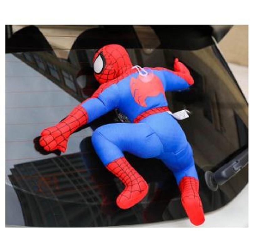 Creative Car Roof 3D Decoration For Car Spider Man Bat Man Sticker Plush Cute Striking Doll Auto Exterior Accessories creative spider paper lantern halloween supply party decoration