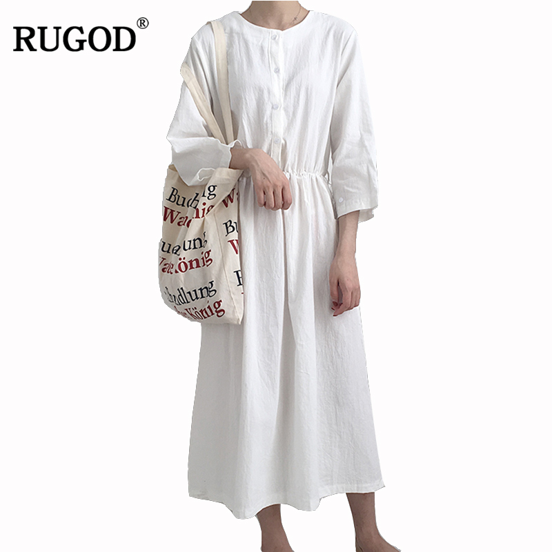 RUGOD 2018 Fashion Solid Spring Women Dress O-neck Long Sleeve Elegant Female Dress Casual Slim Plus Size Summer Knitted Dress iadoaixnal knitted patchwork floral print belt slim full sleeve women dress summer o neck asymmetrical vintage female long dress