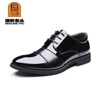2019 Men's Patent Leather Shoes 5.5CM High Black Man Dress Shoes 37-43 Genutal Man Business Shoes