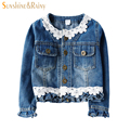 Sunshine Rainy Spring Casual Baby Girl Jeans Jackets Autumn Girls Denim Coats With Lace Outerwear Washed Denim Cardigans