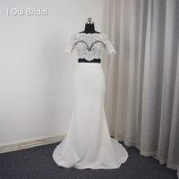 Короткий рукав из двух частей с укороченным кружевным Русалка Свадебные платья новая Дизайн фабрики индивидуальный заказ 2018019