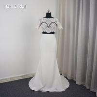 Short Sleeve Two Piece Crop Top Lace Mermaid Bridal Wedding Dresses New Design Factory Custom Made 2018019