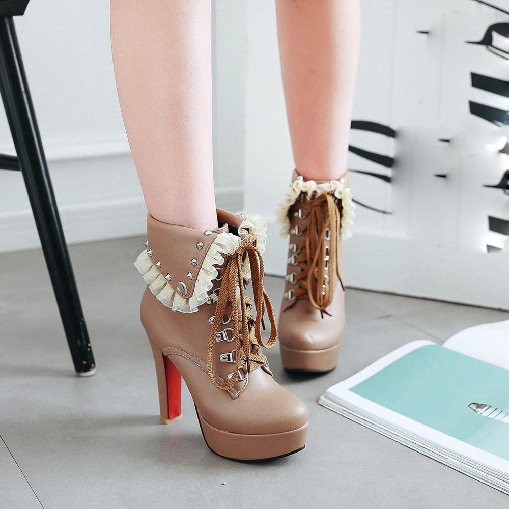 Bottes Chaussures noir Femmes Rivets À Cheville Mujer Beige blanc Agréable Hauts Lacent Botas Talons Vogue forme Pour Plate JKcTFl1