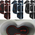 11Pcs/set with logo  in car stickers car cup mat Gate slot pad  for Ford focus 3 2012 2013 2014 LHD Latex Anti non slip