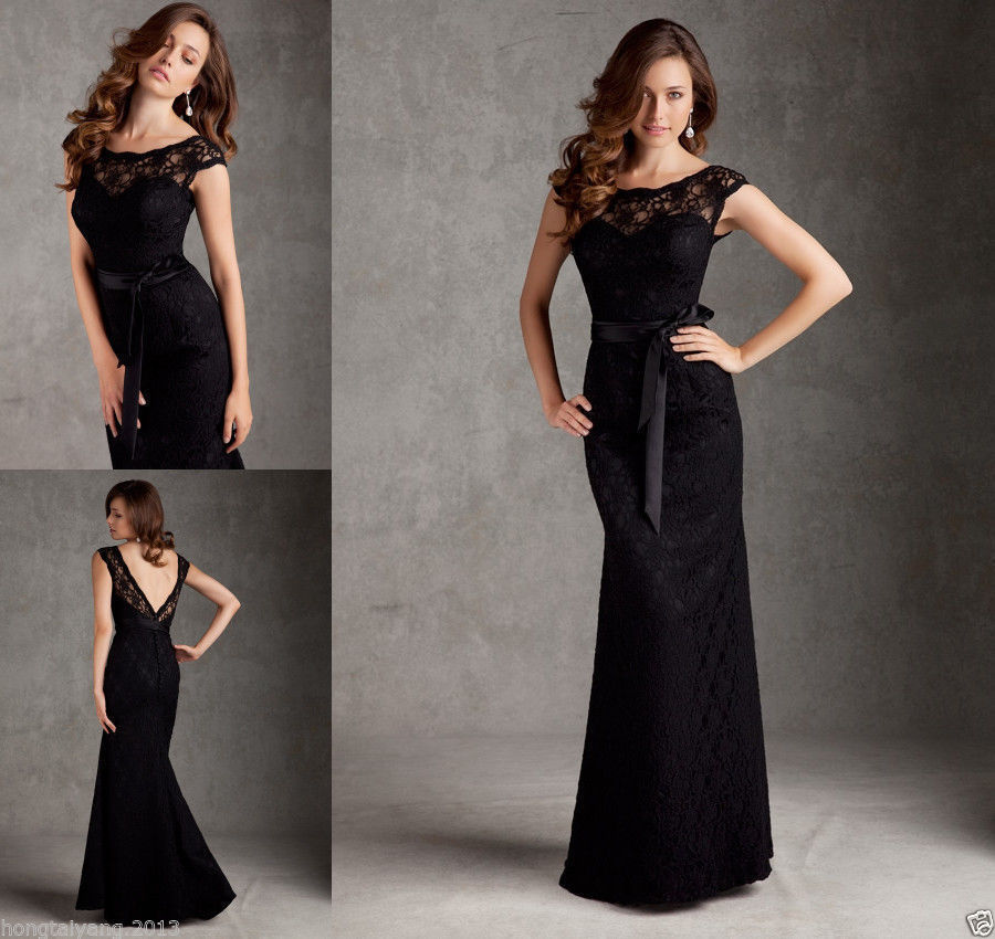 Black Lace Mermaid Cap Sleeve Formal Long Party Prom Bridesmaid Dresses In From