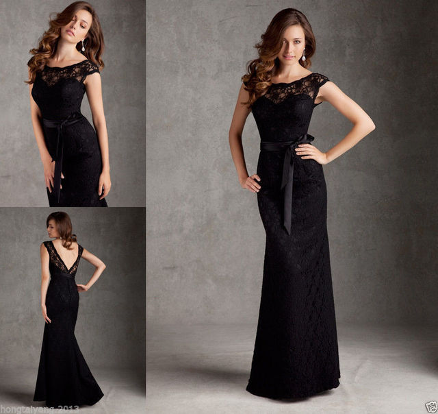 Black Lace Mermaid Cap Sleeve Formal Long Party Prom Bridesmaid Dresses
