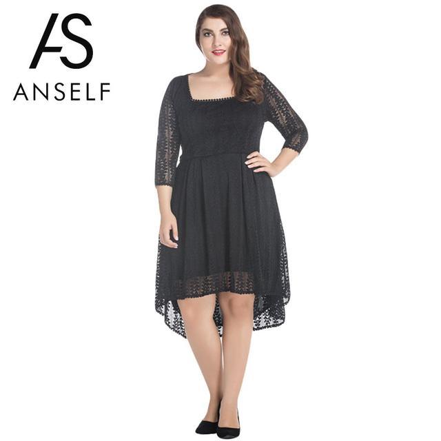 9fa3c945056 ANSELF Women Plus Size Dress 5XL 6XL Sexy Irregular Square Neck 3 4 Sleeve  Elegant