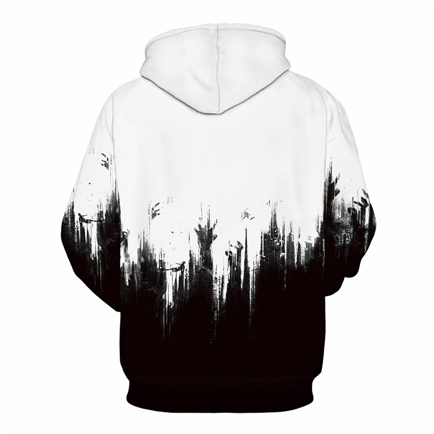 Halloween 3d Printing Mens Hoodies and Sweatshirts Men Hooded Black White Lovers Sweetheart Clothing Pullovers Sudadera Hombre