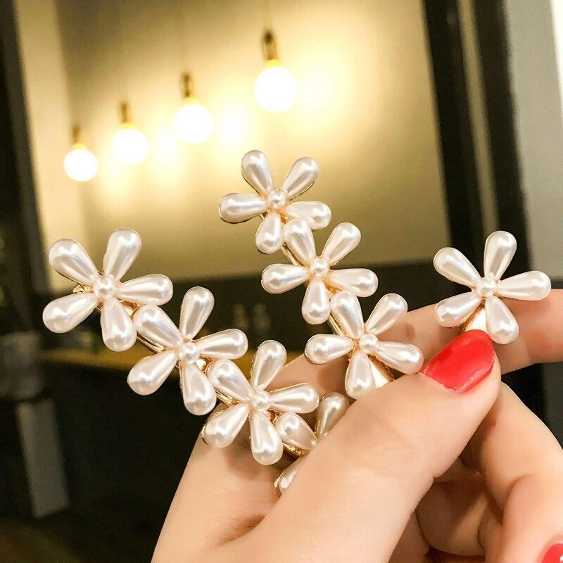 Pearl Hair Clip Barrettes Fashion Girls Pearls Flower Hairpins Mini Hair Pin Korean Chic Retro Hair Clips Women Hair Accessories