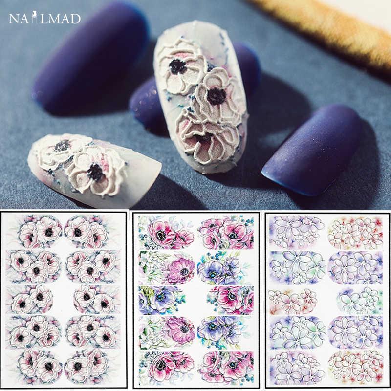 1 шт. 3D акриловый выгравированный цветок стикер для ногтей тисненый цветок наклейки для ногтей Водные Наклейки для ногтей наклейки для ногтей