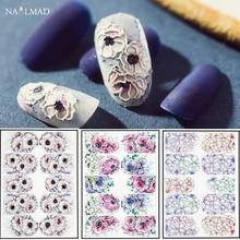 1pc 3D akrylowe grawerowane kwiat naklejka do paznokci w wytłaczane kwiaty paznokci woda naklejki Empaistic paznokci woda slajdów naklejki moda paznokcie