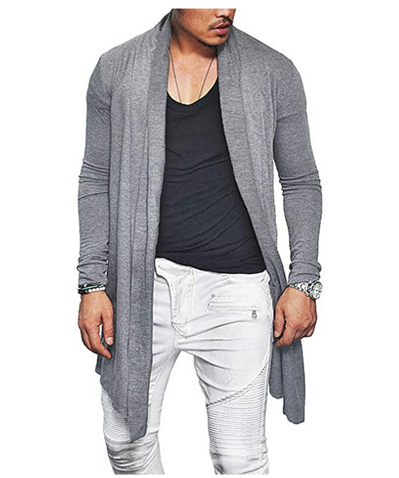 Long Cardigans Men's Outerwear Autumn Slim Fit Cotton Blend Cardigan Tops Male Solid Color Casual Long Sleeve Cardigan W3