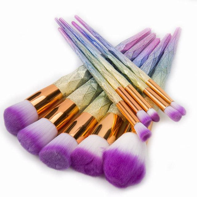 Unicorn Makeup Brushes 12pcs Thread Rainbow Professional Make Up Brush Set Blending Powder Foundation Eyebrow Eye Contour Brush