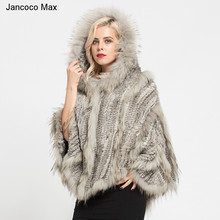 Jancoco Max 2017 New Arrival Real Rabbit & Raccoon Fur Knitted Poncho Womens Fashion Style Shawls Winter Cape Pullover S7182